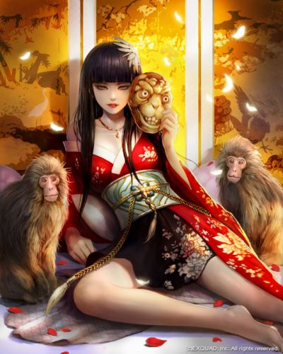 original fantasy character beauty kimono long hair monkey wallpaper
