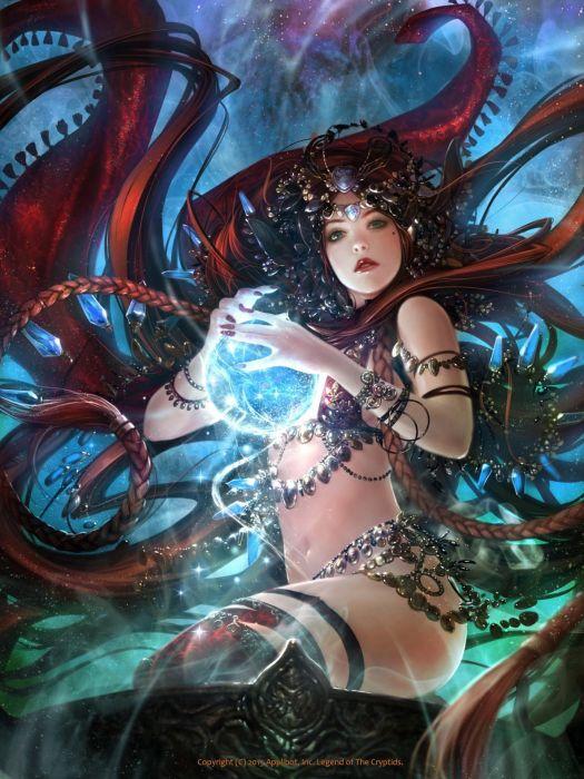 original fantasy character beauty girl dress long hair beautiful magic wallpaper