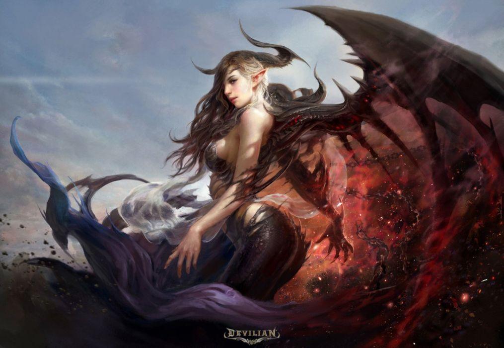original fantasy character beauty girl dress long hair beautiful wings wallpaper
