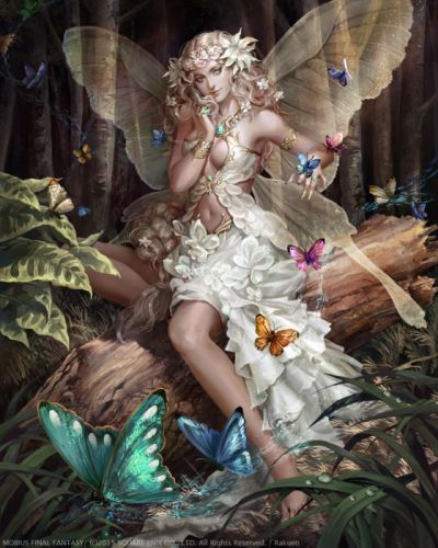 original fantasy character beauty girl dress long hair beautiful butterfly forest fairy wallpaper