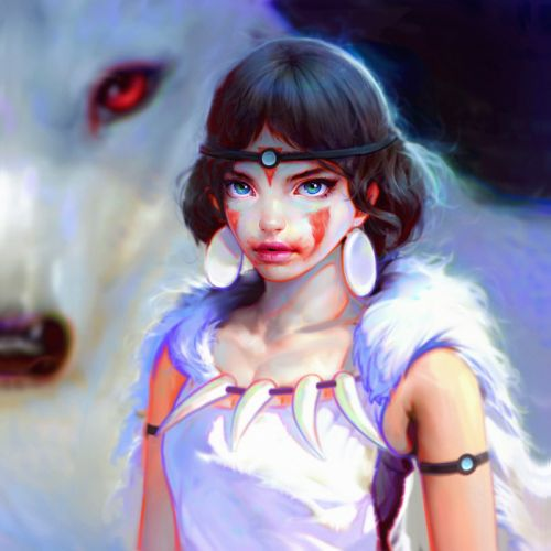 original fantasy character beauty girl animal wolf wallpaper
