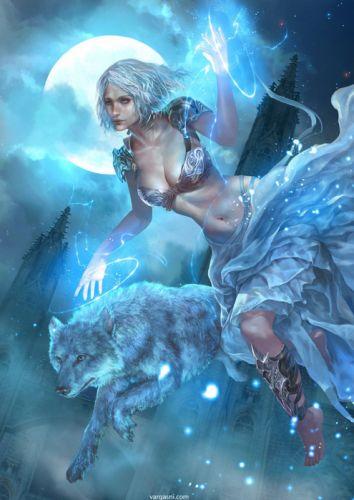 original fantasy character beauty girl blue wolf magic moon dress wallpaper