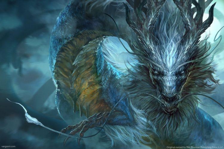 dragon original fantasy blue wallpaper
