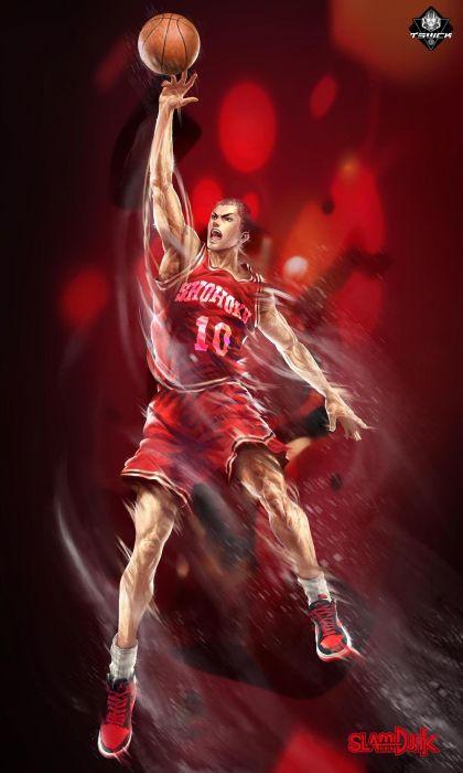 original character slumdunk basketball hanamichi anime red wallpaper