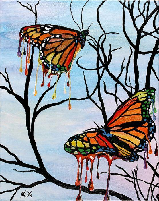 art painting butterfly oil beauty wallpaper