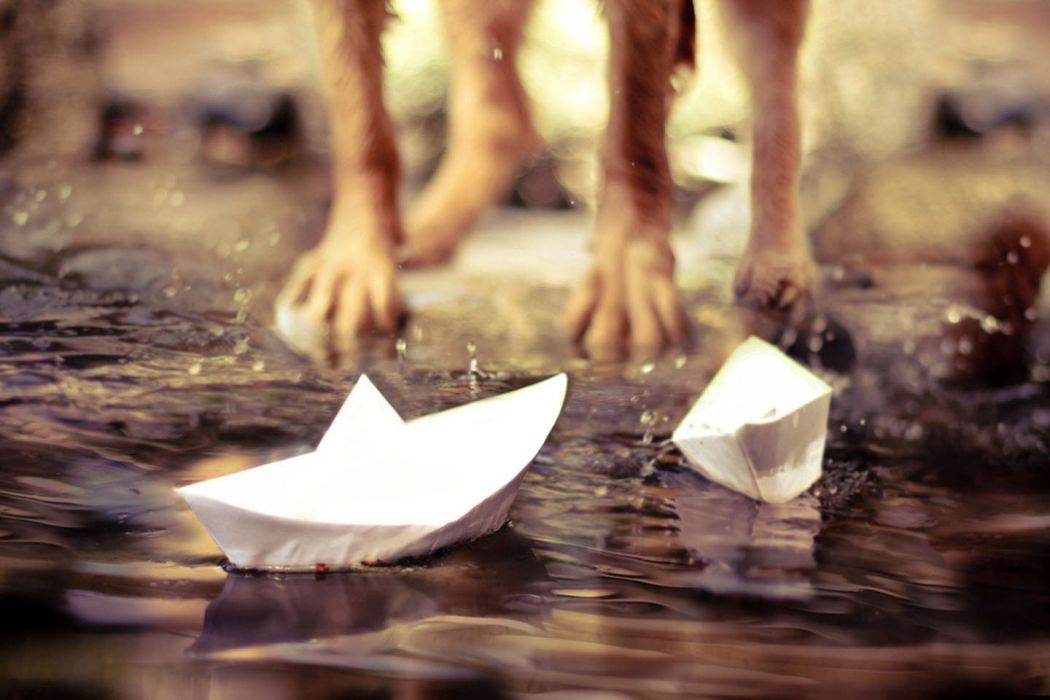 Paper Boats water mood child wallpaper