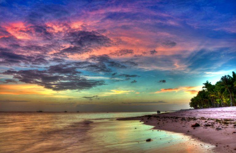 beach beauty sky sea ocean clouds tree wallpaper