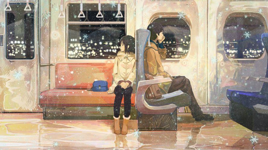 anime couple train girl boy star wallpaper