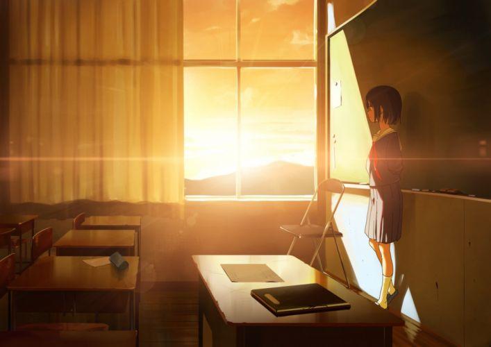 Anime Girl Enjoying Sunset Classroom beauty wallpaper