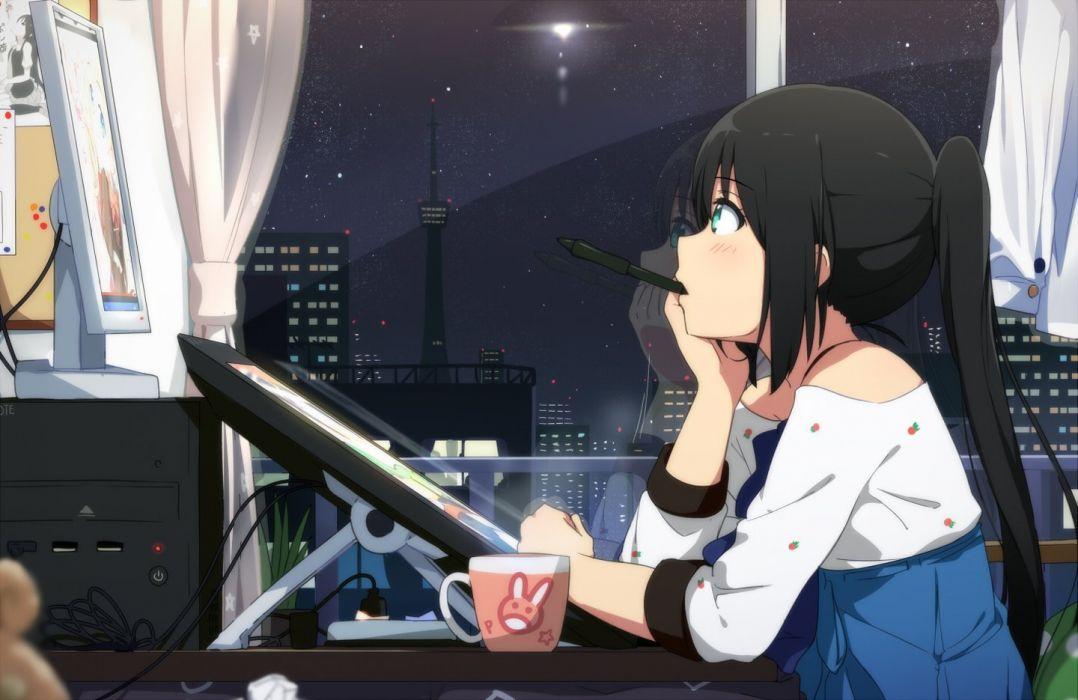 Anime Girl Taking A Break Watching Tokyo Tower wallpaper