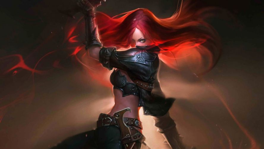 art fantasy woman warrior redhead katarina-league-of-legends wallpaper