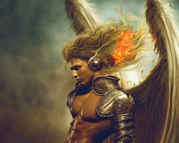 art fantay man angel wing fire wallpaper