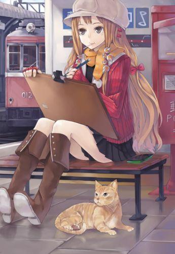 artist black eyes blonde hair boots cat eating hairpins hat jacket long hair ribbon scarf skirt telephone vehicle wallpaper