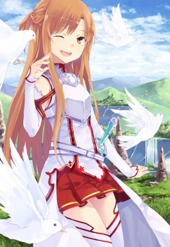 bird brown eyes brown hair dress happy long hair side tail sky thigh highs wink Sword Art Online wallpaper