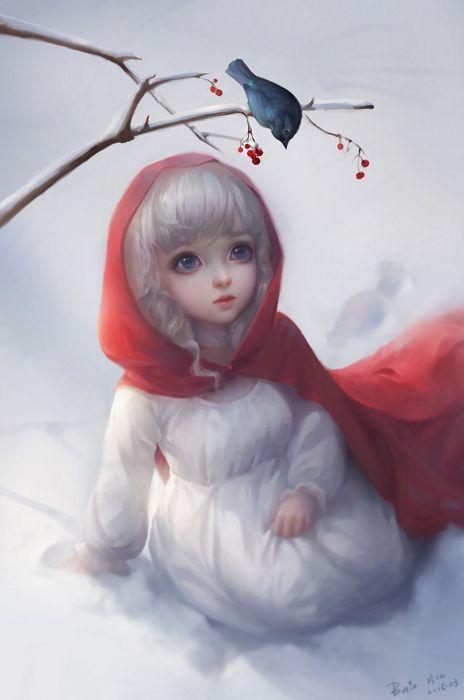 fantasy girl cute winter snow animal bird white hair blue eyes wallpaper