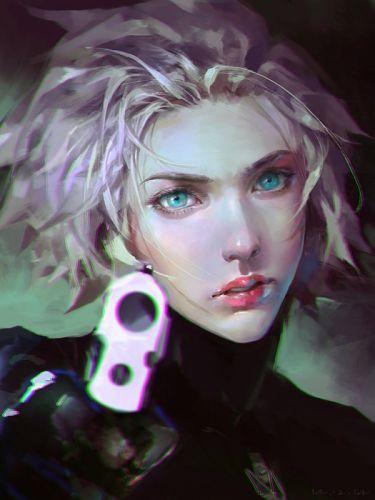 fantasy girl weapon face green eyes beauty short hair wallpaper