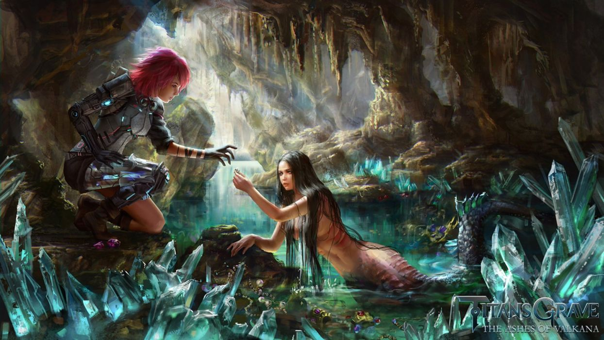 fantasy mermaid girls cave red hair wallpaper