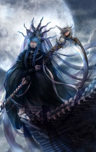 fantasy original witch moon blue long hair male sky wallpaper