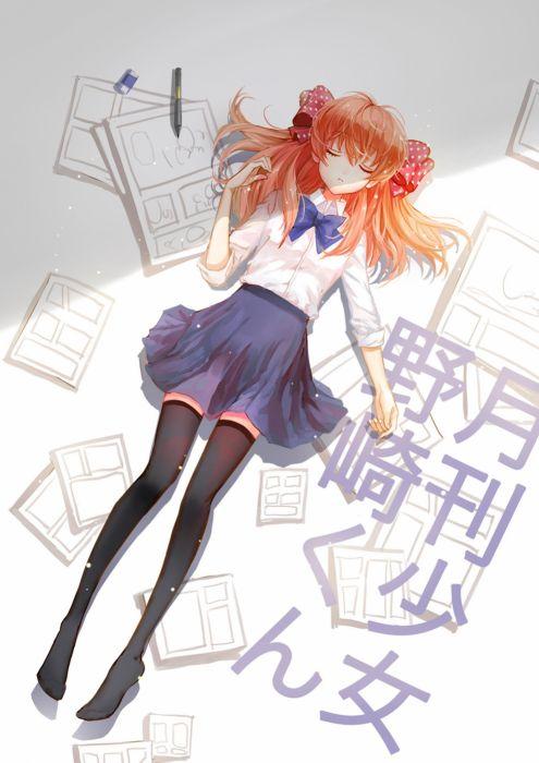 gekkan shoujo nozaki-kun sakura long hair anime series manga cute girl beauty school uniform wallpaper