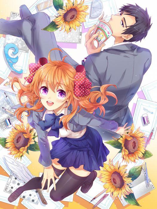 gekkan shoujo nozaki-kun sakura nozaki long hair anime series couple love cute girl guy beauty school uniform sunflower wallpaper