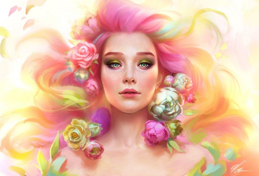 splash of spring fantasy beautiful green eyes girl flower wallpaper