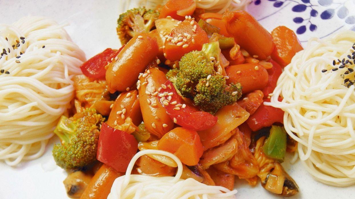 spaghetti vegetables sausages sesame food wallpaper