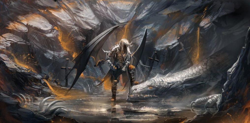 demon dragon cave swords fantasy wallpaper