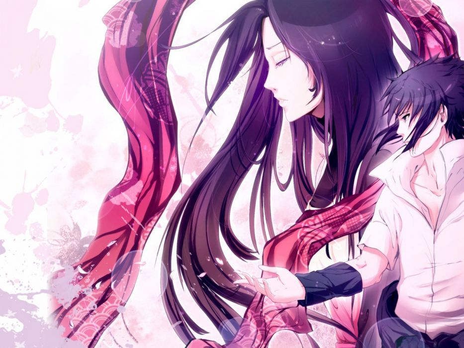naruto uchiha sasuke boy girl character designer scarf wallpaper