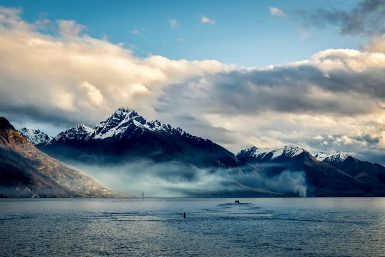 new zealand sea mountains sky clouds wallpaper