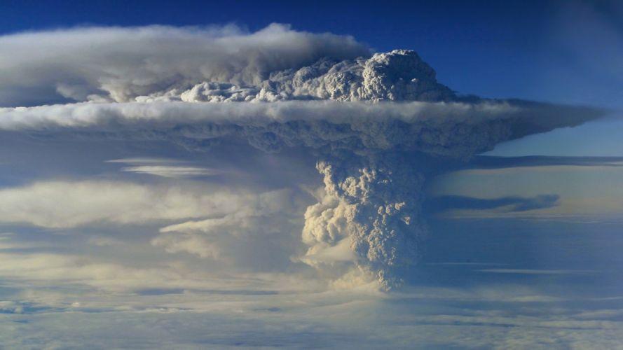 volcano eruption sky smoke column clouds height wallpaper