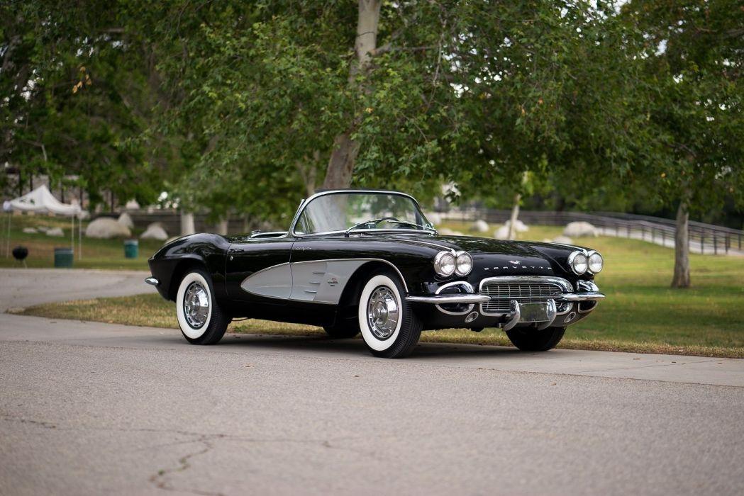 1961 Chevrolet Corvette (C1) Fuel Injection cars convertible classic black wallpaper