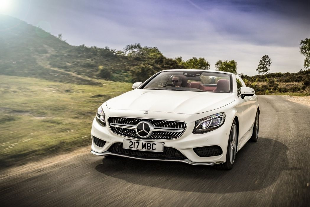 Mercedes Benz S500 Cabriolet AMG Line UK-spec (A217) cars white 2015 wallpaper