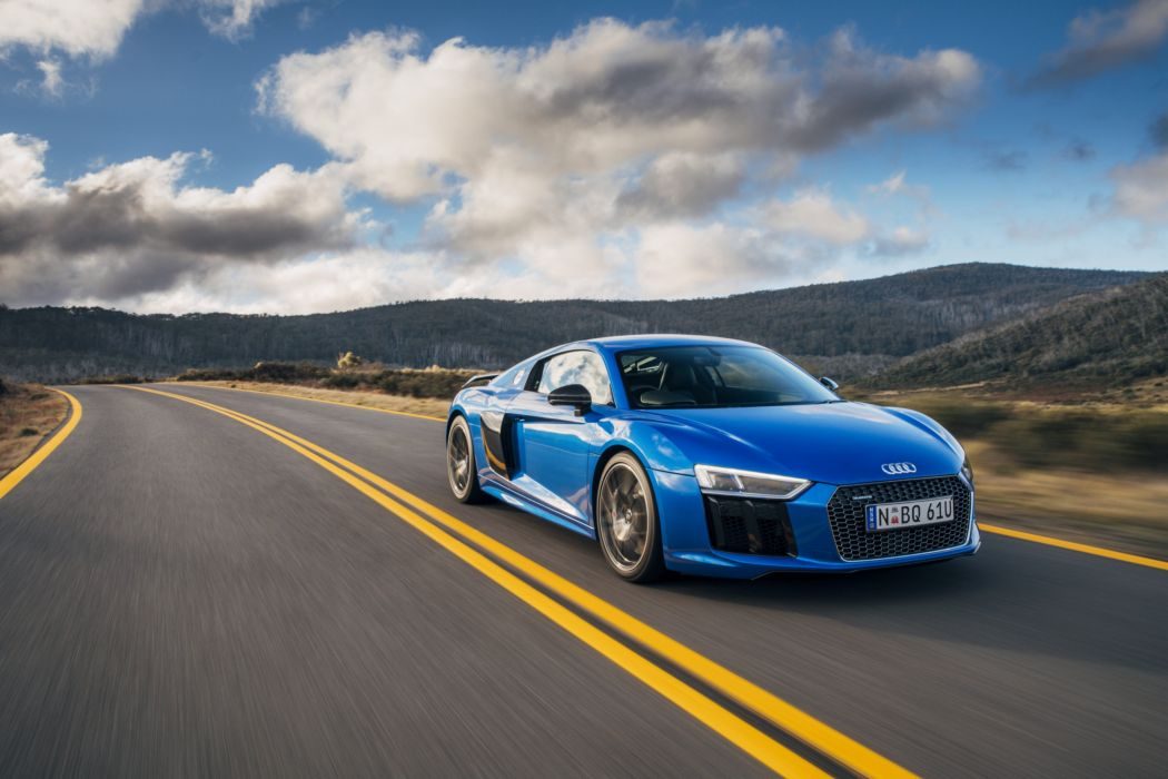 Audi R8 V10 plus blue AU-spec coupe cars 2016 wallpaper