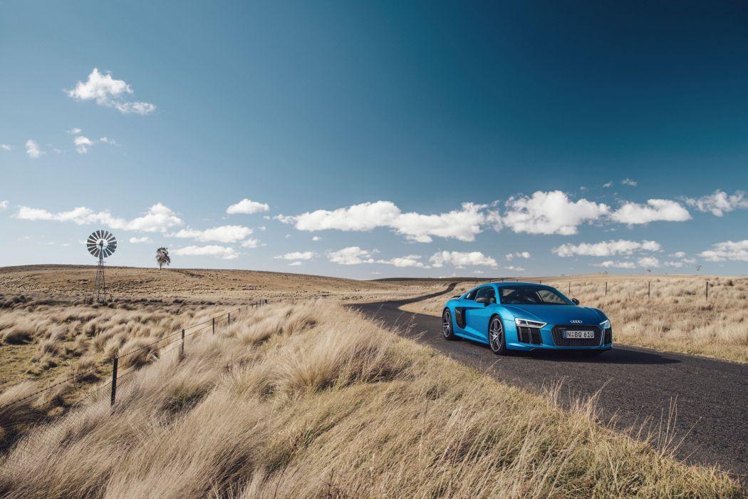 Audi R8 V10 plus blue AU-spec coupe cars 2016 wallpaper