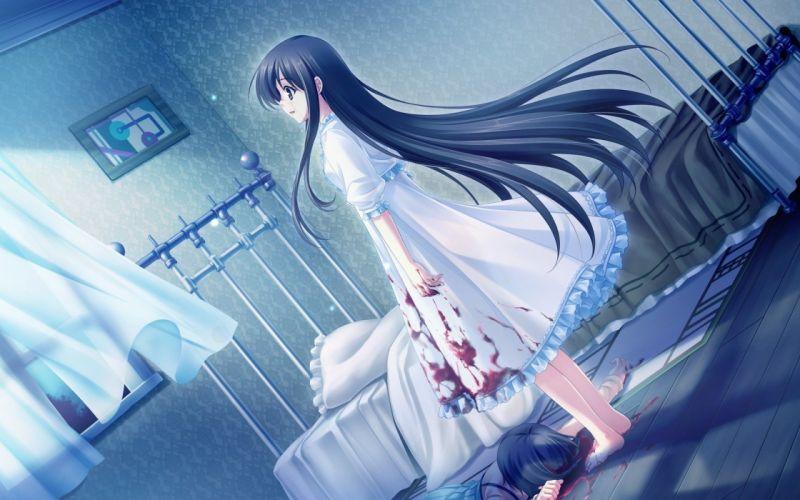 anime long hair girl blood body brunette room wallpaper