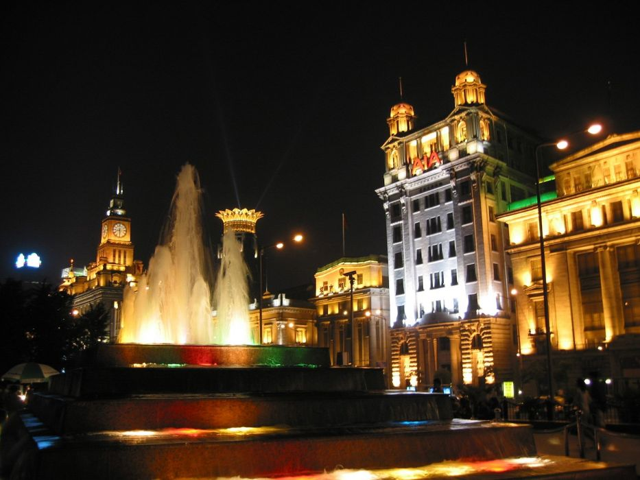 shanghai bund fountain building light night wallpaper