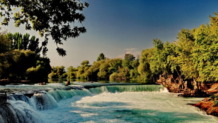 river waterfall forest nature wallpaper