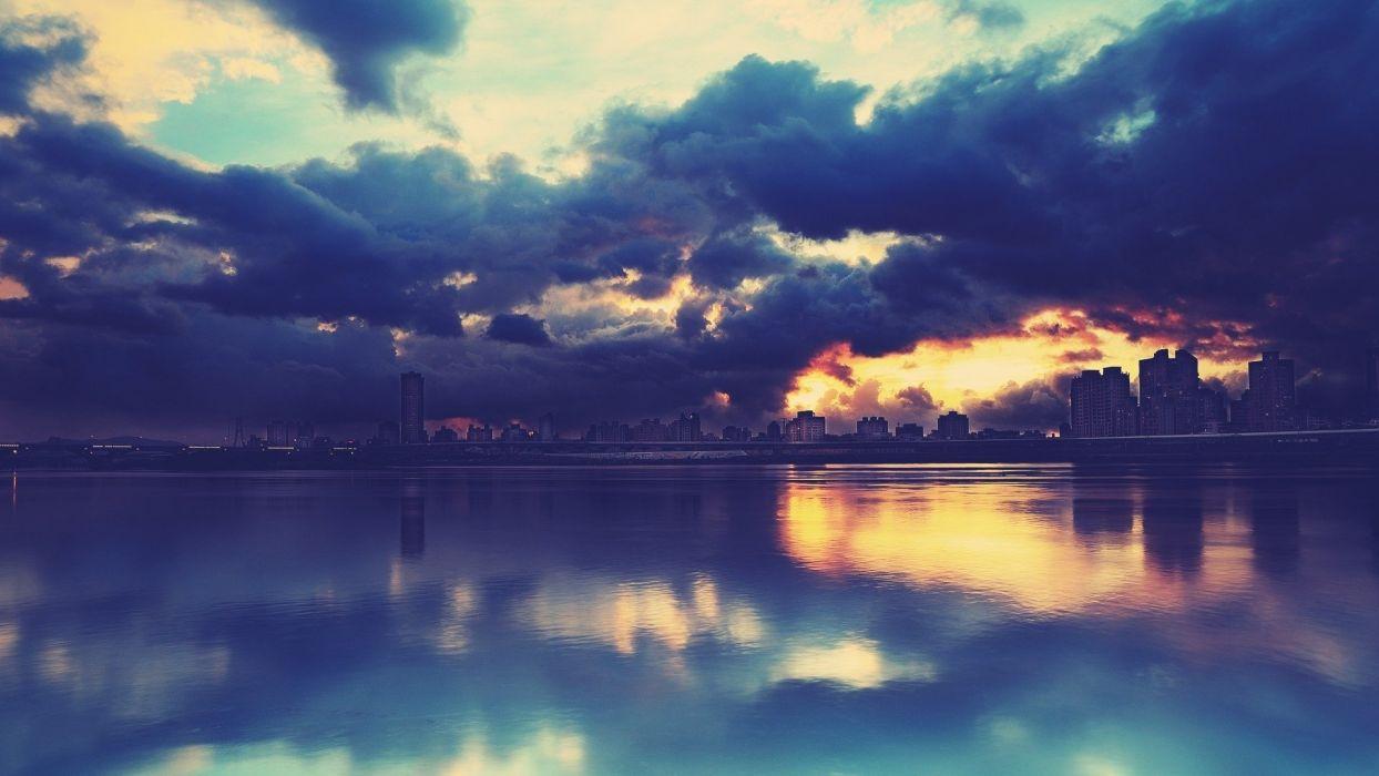 cityaeYaeY skyline river buildings clouds wallpaper