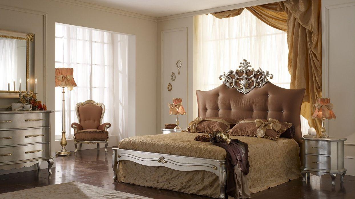 room bed beautiful decoration design wallpaper