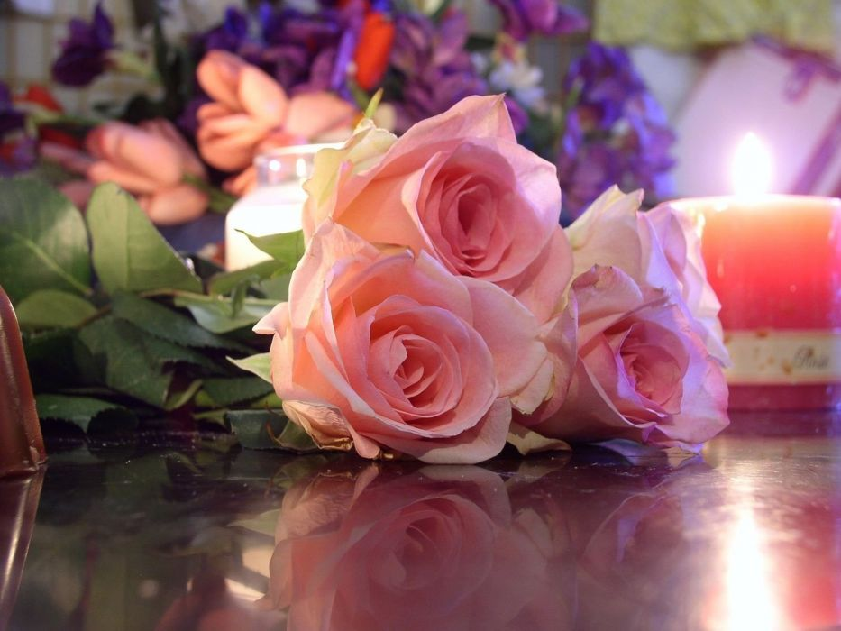 roses flowers three bouquet reflection candle romance wallpaper