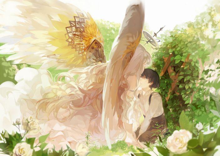 anime girl boy flower angel wings roses leaves wallpaper