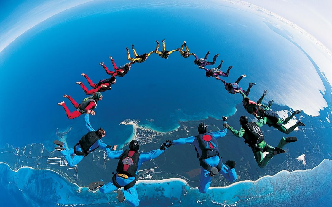 parachute jump synchronously beautifully wallpaper