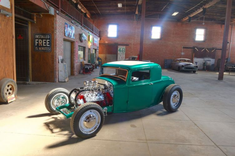 1932 Ford Coupe Five Window Hot Rod Hotrod Custom Kustom Old School USA -03 wallpaper