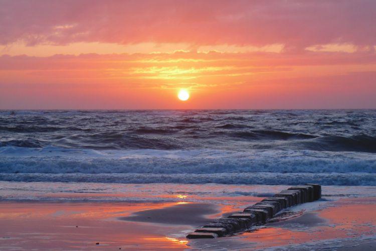 sunset sea beach landscape beautifully wallpaper