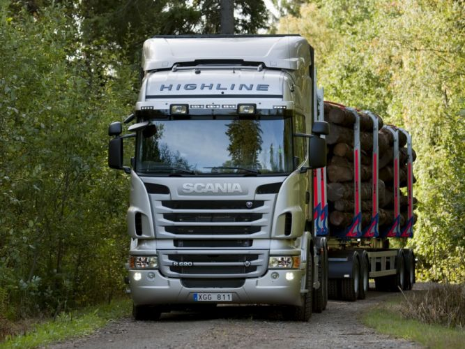 2009 Scania R620 6x4 Highline Timber Truck semi tractor wallpaper