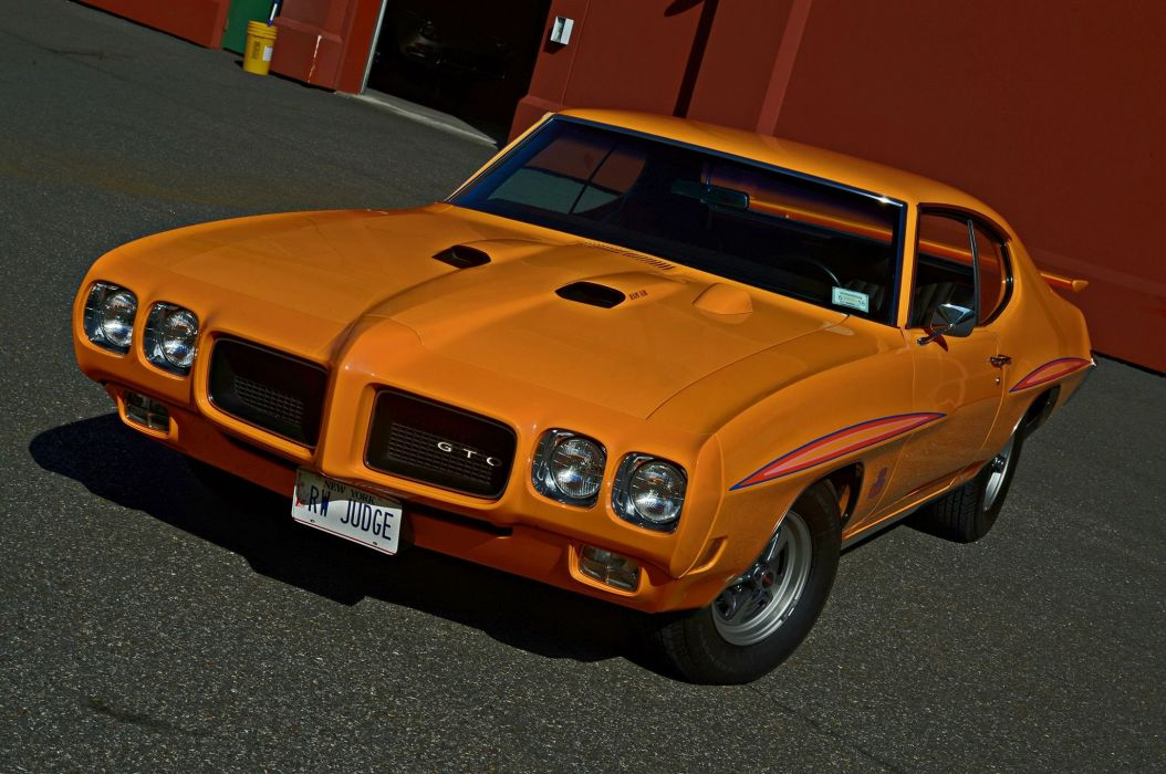 Orange 1970 Pontiac GTO cars coupe twin muscle wallpaper