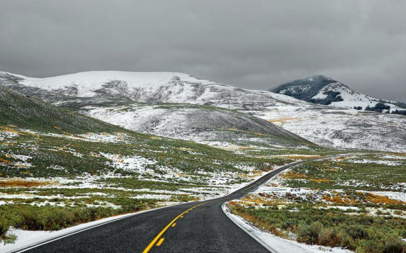 carretera nieve montaA wallpaper