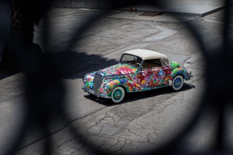 1952 Mercedes Benz 220 Cabriolet A Earthly Paradise Art Car Hiro Yamagata W187 custom vintage wallpaper