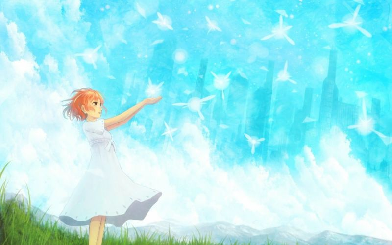 anime series fairy tail girl dress sky wallpaper