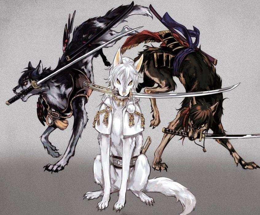 Date-gumi Touken Ranbu Game anime series wolf animal sword wallpaper